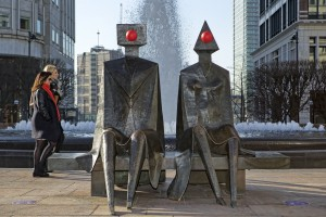 Canary Wharf Red Nose Day 2015 - Lynn Chadwick Couple on Seat