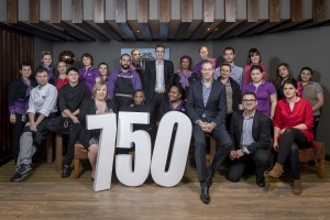 The opening of the 750th Premier Inn in Chiswick, London. Simon Ewins, Chief Operating Officer, and various staff from the Premier Inn celebrate with ribbon cutting, cake cutting and general posing for the camera. 15th February 2017 Photography by Fergus