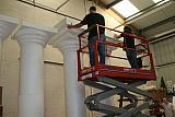 plain white polystyrene pillars