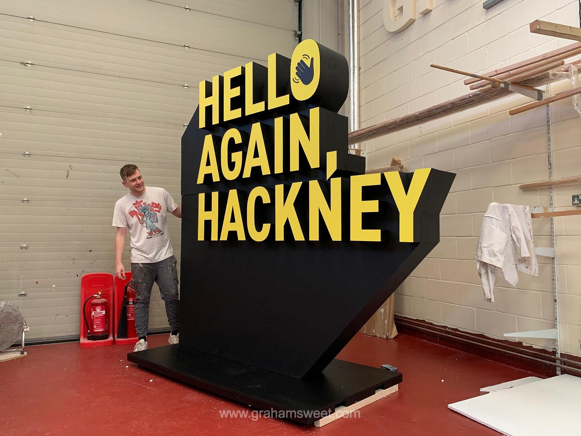 Giant polystyrene sign for hackney town council