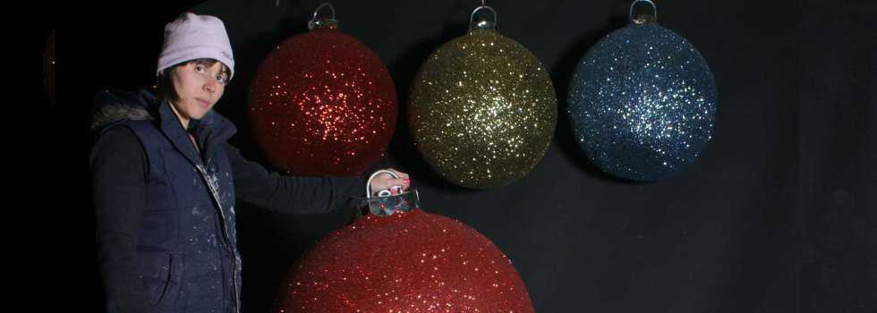christmas display baubles giant medium and small manufactured in the uk shipped to uk usa europe and the world decorations for instore
