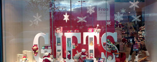 Polystyrene snowflakes- window and instore display