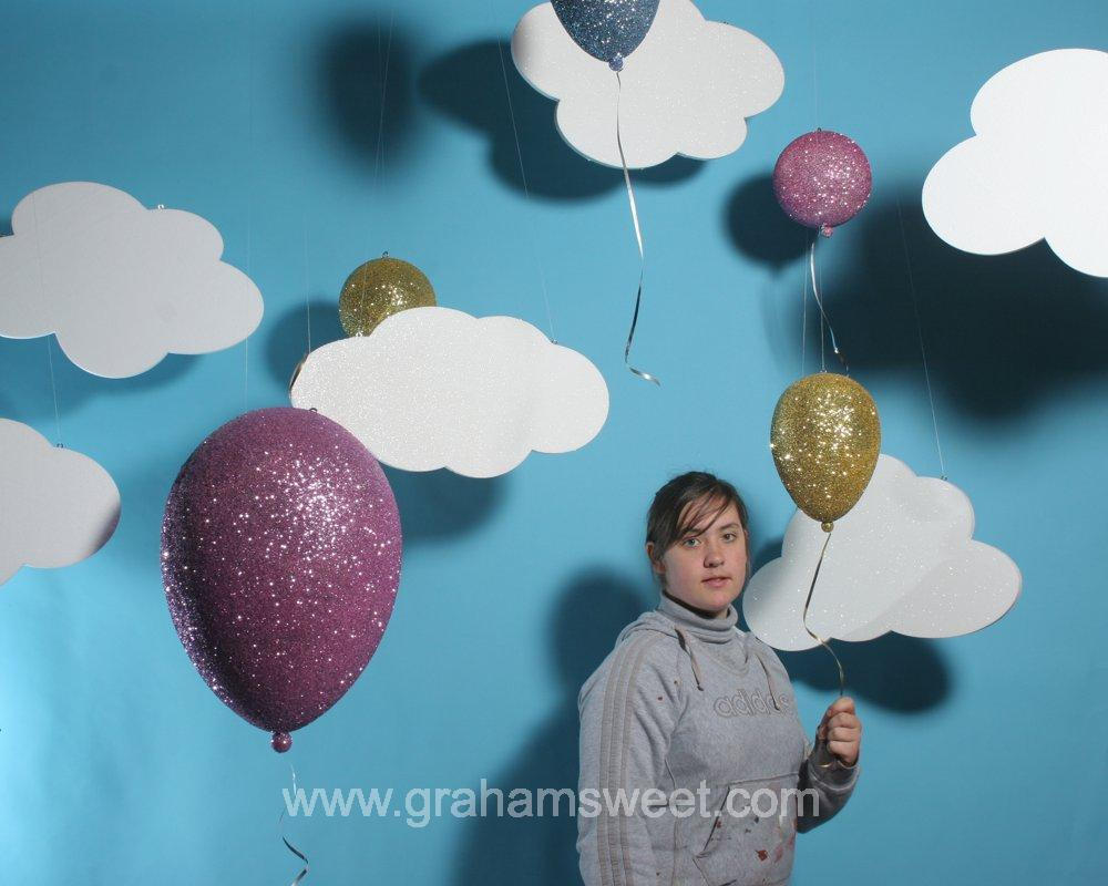 Polystyrene Clouds and 3d glittered balloons - summer window display ideas