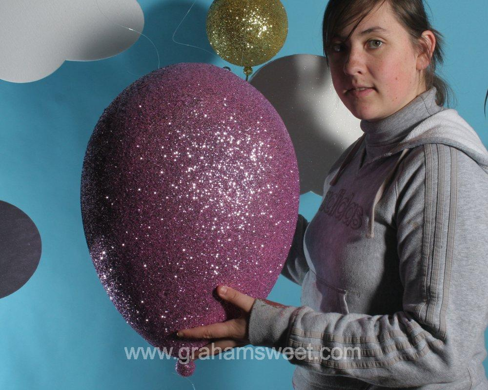 Polystyrene Clouds and 3d glittered balloons - summer window display ideas2