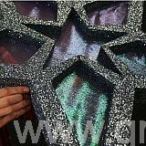 close up of glittered star and fabric center sections