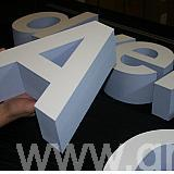 polystyrene letters - faced with white acrylic - sides painted blue