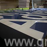 polystyrene letters - faced with white acrylic - sides painted various colours