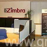 zimbra acyrlic faced letters in an office