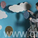 Polystyrene Clouds and 2d poly glittered balloons2