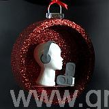 580 m diameter red glittered bauble shelf - with a red glitter back