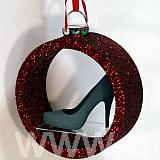 580 m diameter red glittered bauble shelf - with no backing