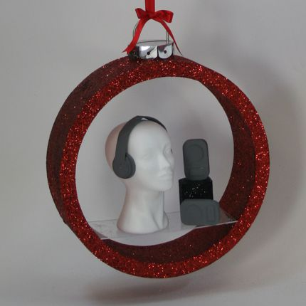 polystyrene christmas bauble shelves - red glitter