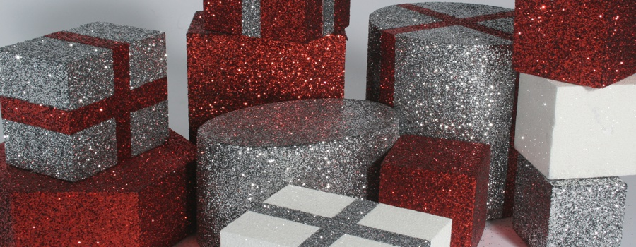 polystyrene glitter presents for shop display